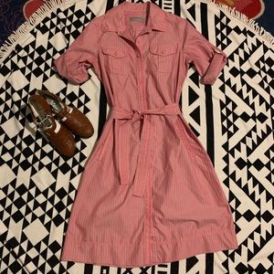 vintage and classy stripe button down shirt dress